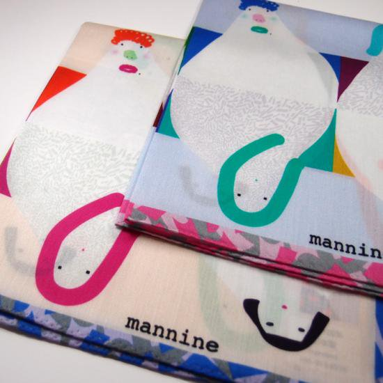 【クリックポストOK】mannine(マンナイン)|ハンカチ FACE PINK