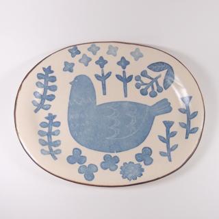かとうようこ|オーバルプレート 鳥と草花(青)