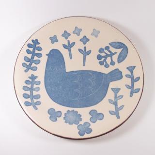 かとうようこ|プレートL 鳥と草花(青)