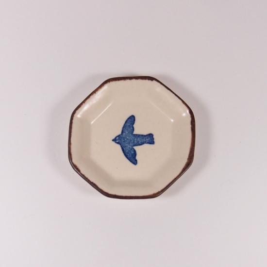 かとうようこ|豆皿 トリ(青)