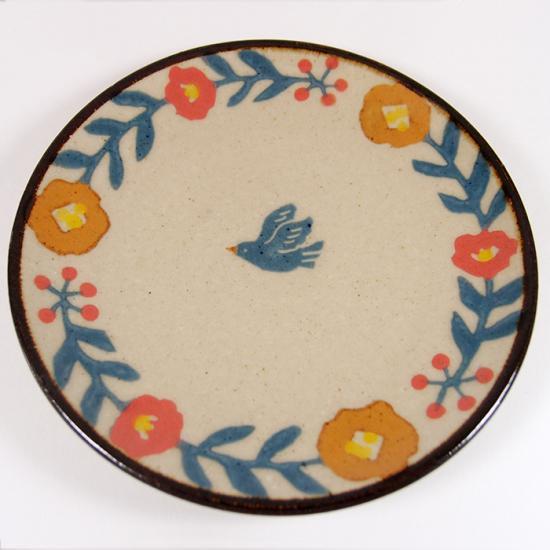 諏佐知子|4寸皿 鳥と花模様