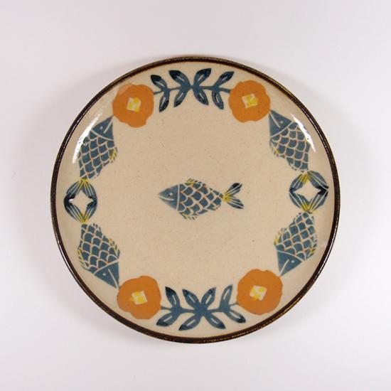 諏佐知子|5寸皿 魚と花模様