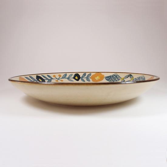 諏佐知子|7.5寸深皿 魚と花模様
