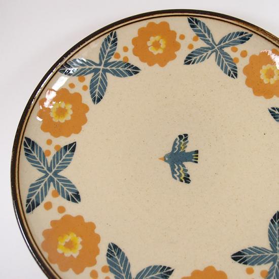 諏佐知子|7.5寸深皿 鳥と草花