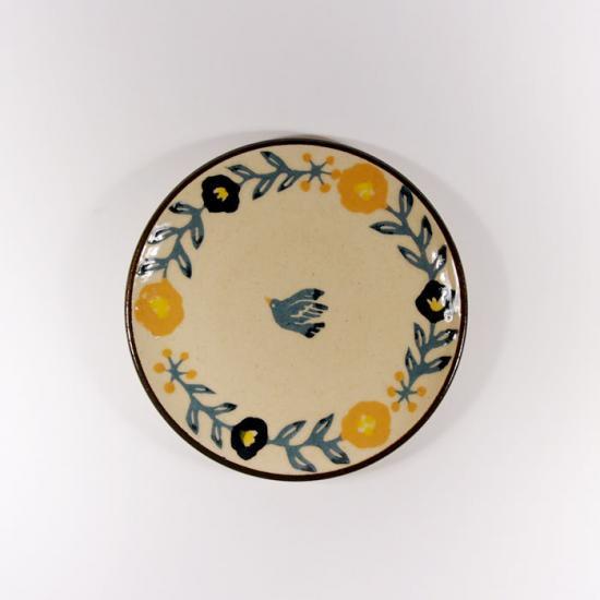 諏佐知子|4寸皿 鳥と花模様B
