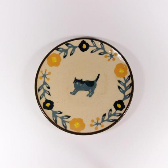 諏佐知子 4寸皿 猫と花模様A