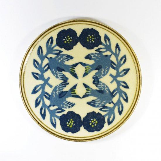 諏佐知子|5寸皿 鳥と花と草