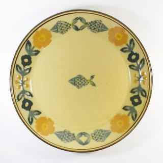 諏佐知子|7寸皿(浅鉢) 魚と花模様