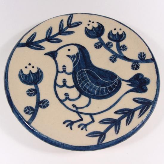 大内瑤子(おおうちようこ)|まめ絵皿-小鳥