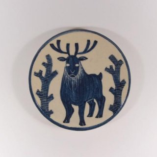 大内瑤子(おおうちようこ)|まめ絵皿-木立と鹿