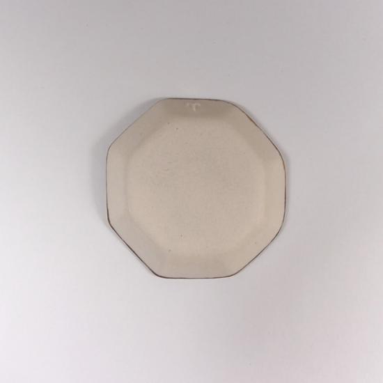 かとうようこ|八角豆皿 ねこ(青)
