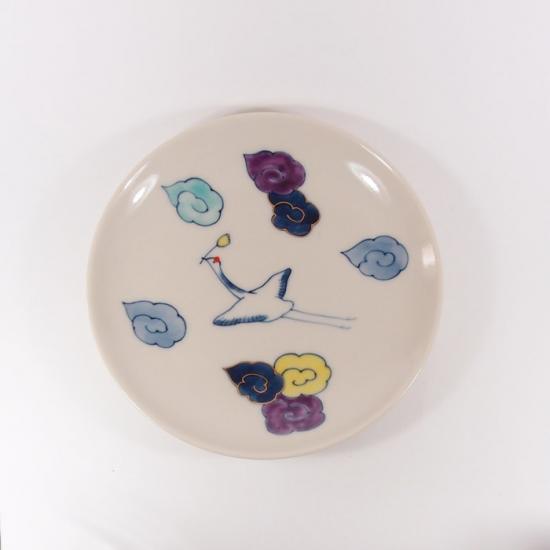 中川ひかり|4寸皿 雲と鶴 【5C】