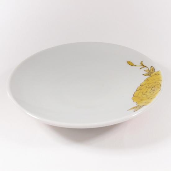 道場八重|4.5寸皿 ぼたん(黄)【九谷焼】