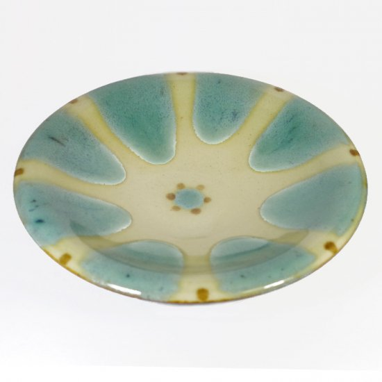 ノモ陶器製作所(野本周) 7寸皿 緑釉(オーグスヤー) 【やちむん】