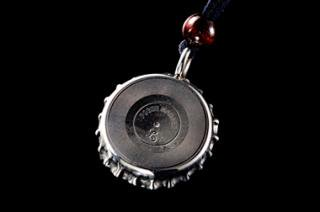 Bottle Cap Pendant   Record-Disk (leather)