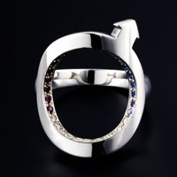 Target Ring Silver with jewels (B)