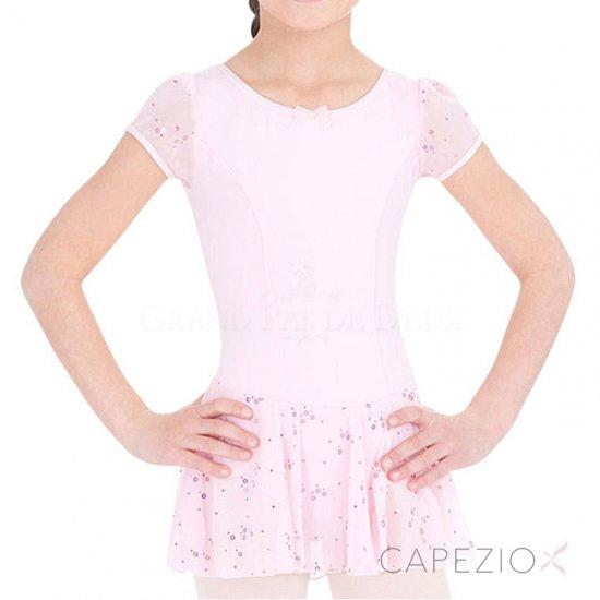 753ddf3ed975b Capezio(カペジオ)スパンコール・ショートスリーブ レオタード スカート付 (キッズ 子供サイズ)