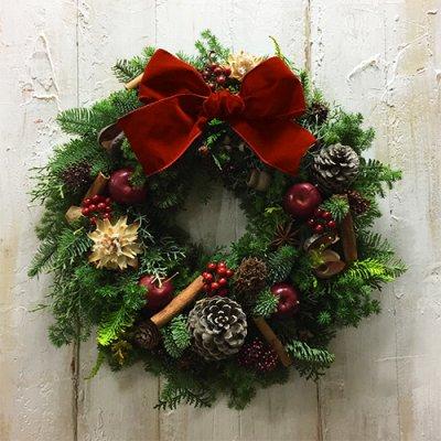 [クリスマスリース]トラディショナル(リボンの色が選べます)