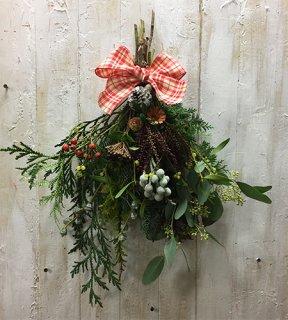 [クリスマススワッグ] カントリー×ナチュラル(リボンの色が選べます)