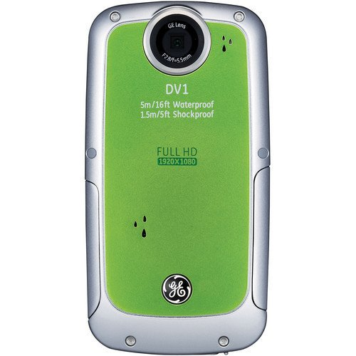 GE フルハイビジョン ビデオカメラ DV1 CMOS503万画素 デジタルズーム4倍 防水 / 防塵 グリーン DV1【中古品】