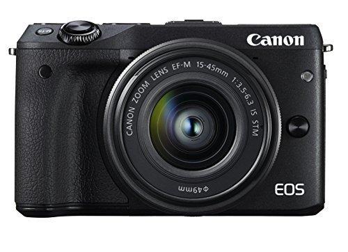 S#【中古】Canon ミラーレス一眼カメラ EOS M3 レンズキット(ブラック) EF-M15-45mm F3.5-6.3 IS STM 付属 EOSM3BK-1545ISSTM…