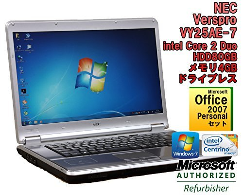 B#【中古】【Office 2007セット! ノートパソコン】NEC VersaPro VY25AE-7 Windows7 15.4インチ Core 2 Duo P8700 2.53GHz メモ…