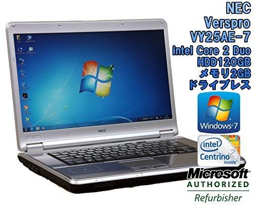 B#【中古】【ノートパソコン】NEC VersaPro VY25AE-7 Windows7 15.4インチ Core 2 Duo P8700 2.53GHz メモリ2…