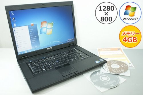 B#【中古】Dell 【パソコン】ノートパソコン DELL Latitude E5500 Core2Duo-2.53GHz 4GB 160GB DVDスーパーマルチ Windows7搭載 15.…