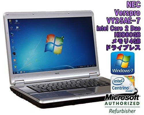 B#【中古】【ノートパソコン】NEC VersaPro VY25AE-7 Windows7 15.4インチ Core 2 Duo P8700 2.53GHz メモリ4…