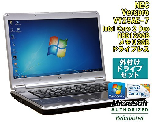 B#【中古】【外付ドライブ付!ノートパソコン】NEC VersaPro VY25AE-7 Windows7 15.4インチ Core 2 Duo P8700 2.53GHz メモリ2…