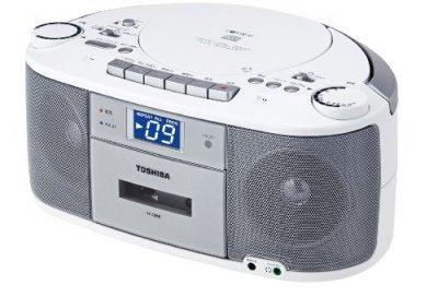 TOSHIBA CDラジオカセットレコーダー CUTEBEAT シルバー TY-CDS5(S)【中古品】