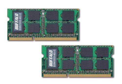 E#【中古】BUFFALO ノートPC用増設メモリ PC3-10600(DDR3-1333) 4GB×2枚組 D3N1333-4GX2/E