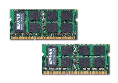 E#【中古】BUFFALO PC3-10600(DDR3-1333)対応 204Pin用 DDR3 SDRAM S.O.DIMM8GB(4GB×2枚組) D3N1333-4GX2