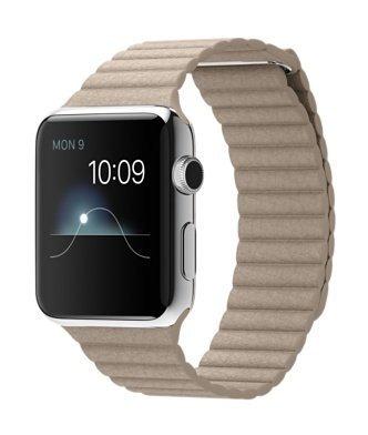 E#【中古】Apple Watch MJ432J/A 42mm ステンレススチールケース ストーンレザーループ Lサイズ  (ston…