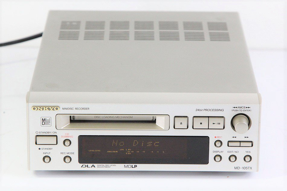 ONKYO INTEC205 MDデッキ MDLP対応 シルバー MD-105TX(S)【中古品】