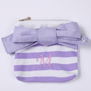 Stripe ribbon pouch A 【Item】