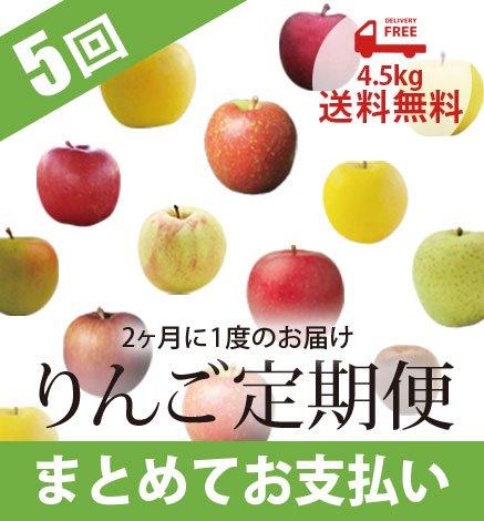 青森りんご定期便 4.5kg(5回コース/まとめてお支払い)