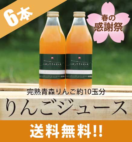 りんごジュース「しぼって そのまんま」6本入り 【春の感謝祭 特別価格】