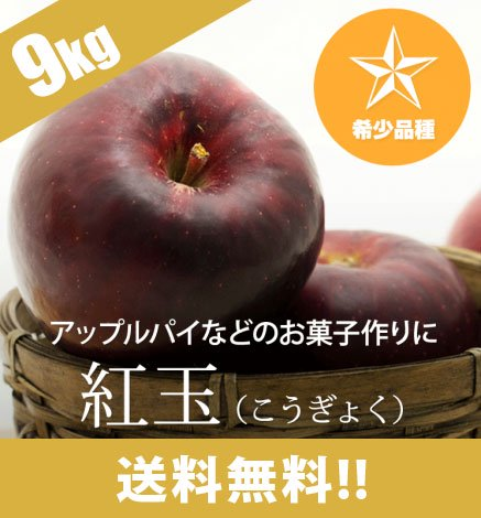 【予約:10月中旬〜:希少品種】青森りんご 紅玉 9kg(26〜48個)