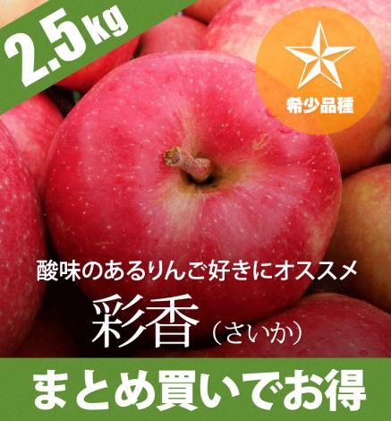 【9月下旬〜:希少品種】青森りんご 彩香(さいか)2.5kg(6〜10個)