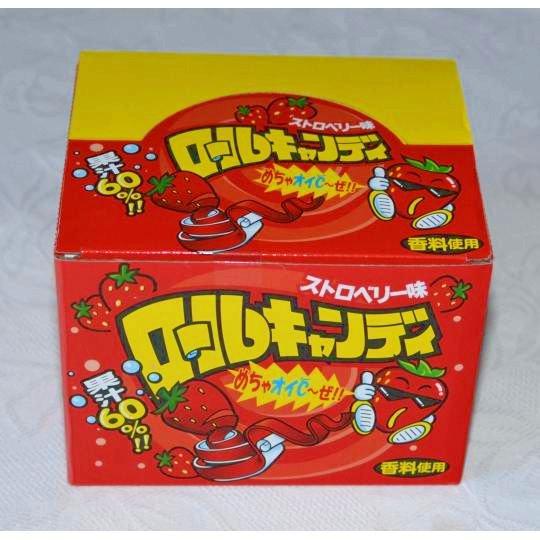 【箱売駄菓子】ロールキャンディ ストロベリー味(24個入り 単価35円以下)