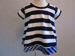 太ボーダーフレアーTシャツ(ネイビー)S-L