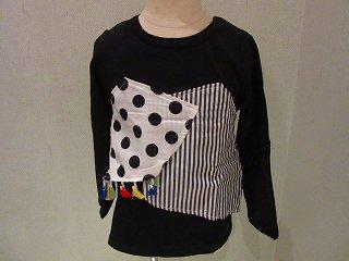 切替配色Tシャツ(ブラック)80-140