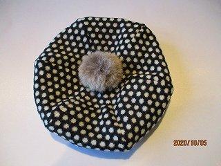 ベレー帽ドットニットジャガード(ブラック)48-50.50-52.52-54