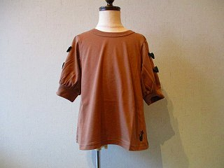 Tシャツ袖リボン(ブラウン)130-150