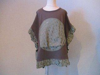スクエアフリルTシャツ(カーキ)100-140