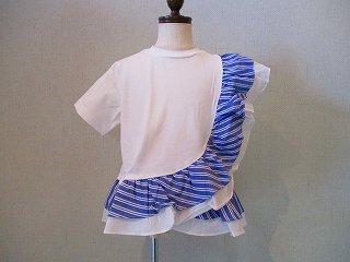 ストライプフリルTシャツ(オフ)100-140