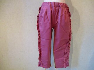 ストレッチツイル脇フリルロングパンツ(ピンク)90-120