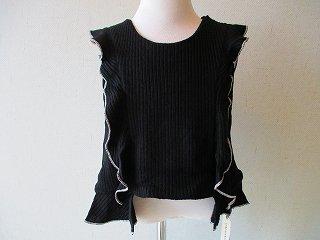 rib knit frill vest(black)6-8y.8-10y.10-12y