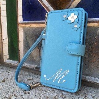 iphone7&6(S) / 7&6(S)plus 手帳型フラップケース  イニシャルオーダー (シュリンク8色) キャトルフラワーデコレーション
